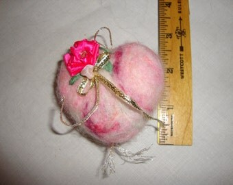Handmade felted heart pincoushion or ornament