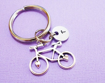 BICYCLE KEYCHAIN - initial charm shown is optional (see price in drop down box) - BIKE keyring, zipper pull, purse charm, key chain