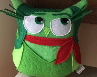 Disgust Owl- Inspired by Inside Out the movie-  Owl Plushie- Disgust plush owl