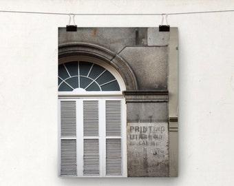 Window Photograph, NOLA Architecture, White Gray Building, New Orleans
