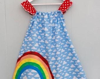 Rainbow dress, girls summer dress