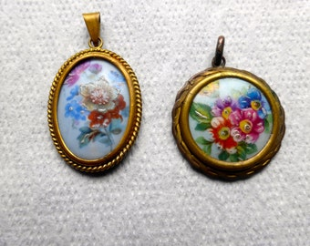 Two Vintage Signed Limoges Foral Pendants Circa 1940s
