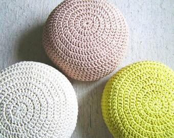 Blush Pink Pouf Ottoman - Blush Pink Nursery Foot Stool Pouffe- Nursery Decor- Kids Furniture- Baby Shower Gifts-Crochet Floor Cushions Pouf