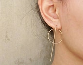 Long Line and Karma / Circle Modern Earrings, Hoops earrings, Minimalist Ear Jackets, Rose Gold Filled, Gold Filled, Sterling Silver