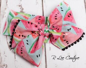 Watermelon Headwrap - Bow Headwrap - Head Wrap - Baby Headwrap - Hair Bow