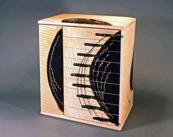"Jewelry Box- ""FIRE & ICE""  (J9FE) - in English Sycamore"