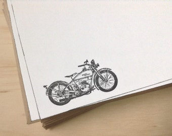 harley davidson stationery set, vintage inspired flat note cards, vintage motorcycle, set of 10