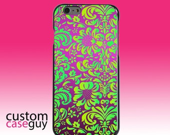 Hard Snap-On Case for Apple 5 5S SE 6 6S 7 Plus - CUSTOM Monogram - Any Colors - Purple Green Floral Pattern