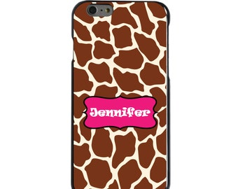 Hard Snap-On Case for Apple 5 5S SE 6 6S 7 Plus - CUSTOM Monogram - Any Colors - Pink Brown Tan Giraffe Skin