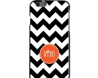 Hard Snap-On Case for Apple 5 5S SE 6 6S 7 Plus - CUSTOM Monogram - Any Colors - Black White Chevron Orange Circle