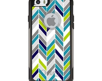 OtterBox Commuter for Apple iPhone 5S SE 5C 6 6S 7 8 PLUS X 10 - Custom Monogram - Any Colors - Teal Navy Grey Herringbone