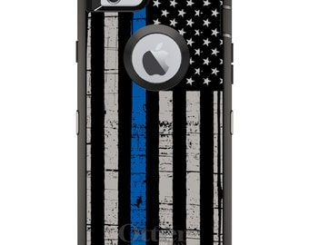 Thin Blue Line OtterBox Defender / Apple iPhone OR Samsung Galaxy / Black Blue US / Custom Personalized Monogrammed / Any Color / Any Font