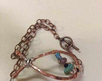 Handmade hammered copper bracelet