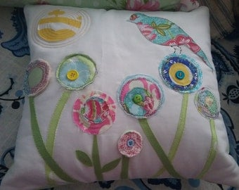 Handmade Spring Pillow bird flower applique quilt pastel  nursery sunroom shabby pink