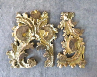 18th Century Gilded French Fragments from an Old Church - c. 1700s Architectural Fragments - Georgian
