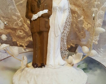 1940s Wedding Cake Topper Bride and Officer Groom