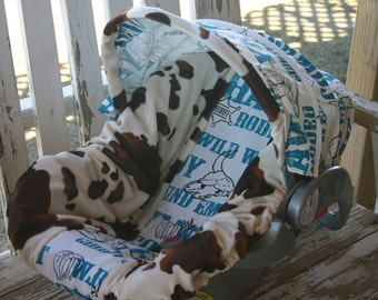 Brown and tan cow print and teal cowboy infant Car seat cover and hood cover
