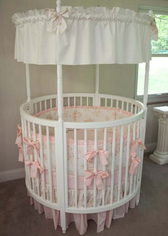 Round Crib Baby Girl Bedding Vintage Floral Shabby Chic Baby
