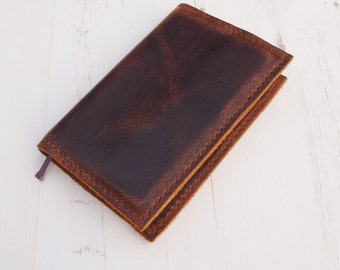 Antique Coach Leather Moleskine Cover, Hand-stitched Pocket Moleskine Cover,Hand-stitched Large Moleskine Cover