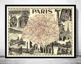 Old Map of Paris Guide 1937