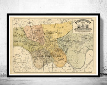 Old Preston Map 1890, England United Kingdom