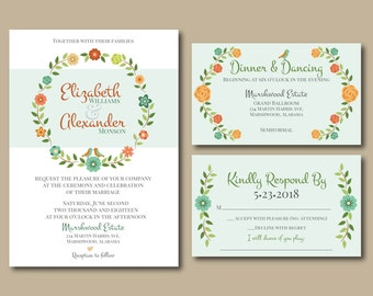 Woodland Wreath, Elegant Wedding Invitations, Printable Wedding Invitation, Floral Wedding Invitation, Invitation Suite, DIY Wedding