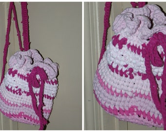 Pink Upcylcle T-shirt Crochet Backpack bucket purse 8x9