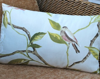 Bird pillow cover, bird cushion cover, shabby chic country style, tree, ivory, green leaves