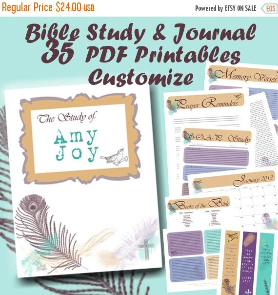 Bible Study Reference: 50% OFF PDF BIBLE Study Journal And Notes 35 By MnJDesigns