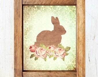 Damask Rabbit Silhouette Print - Vintage Floral