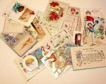 Assortment of Vintage New Years Postcards/ 1900- 1918/ Paper Ephemera/Antique Greetings