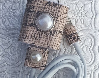 Burlap pearl iphone 5 5c 6 6s charger