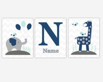 Baby Boy Nursery Art Navy Blue Mint Elephant Giraffe Jungle Safari Zoo Animals Baby Nursery Decor Personalized Prints CHOOSE COLORS