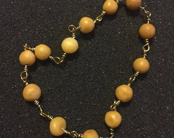 Matte Yellow Marble & Bronze Wire Bracelet