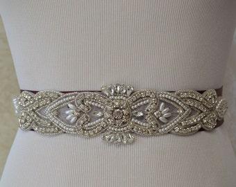Burgundy  Wedding Sash- Bridal Sash- Off White Pearls And Crystal Rhinestone Belt