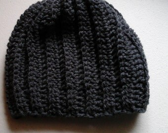 Toddler/older child ribbed stitch slouch hat in gray