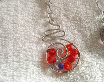 Wire Wrapped Glass Bead Pendant Necklace