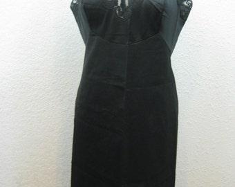 Vintage 1960s Black Nylon Lace Dress Slip