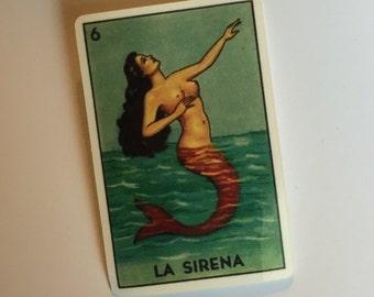 "La Sirena vinyl sticker / loteria sticker / mermaid sticker 1.5"" x 2.3"""