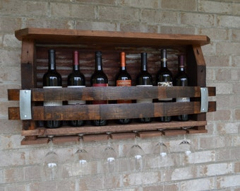 Wine Rack made from reclaimed barnwood - Wine barrels and rusted Tin barn roof