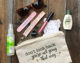 Travel Quote Cosmetic Bag, Pencil Case, Wristlet, Clutch