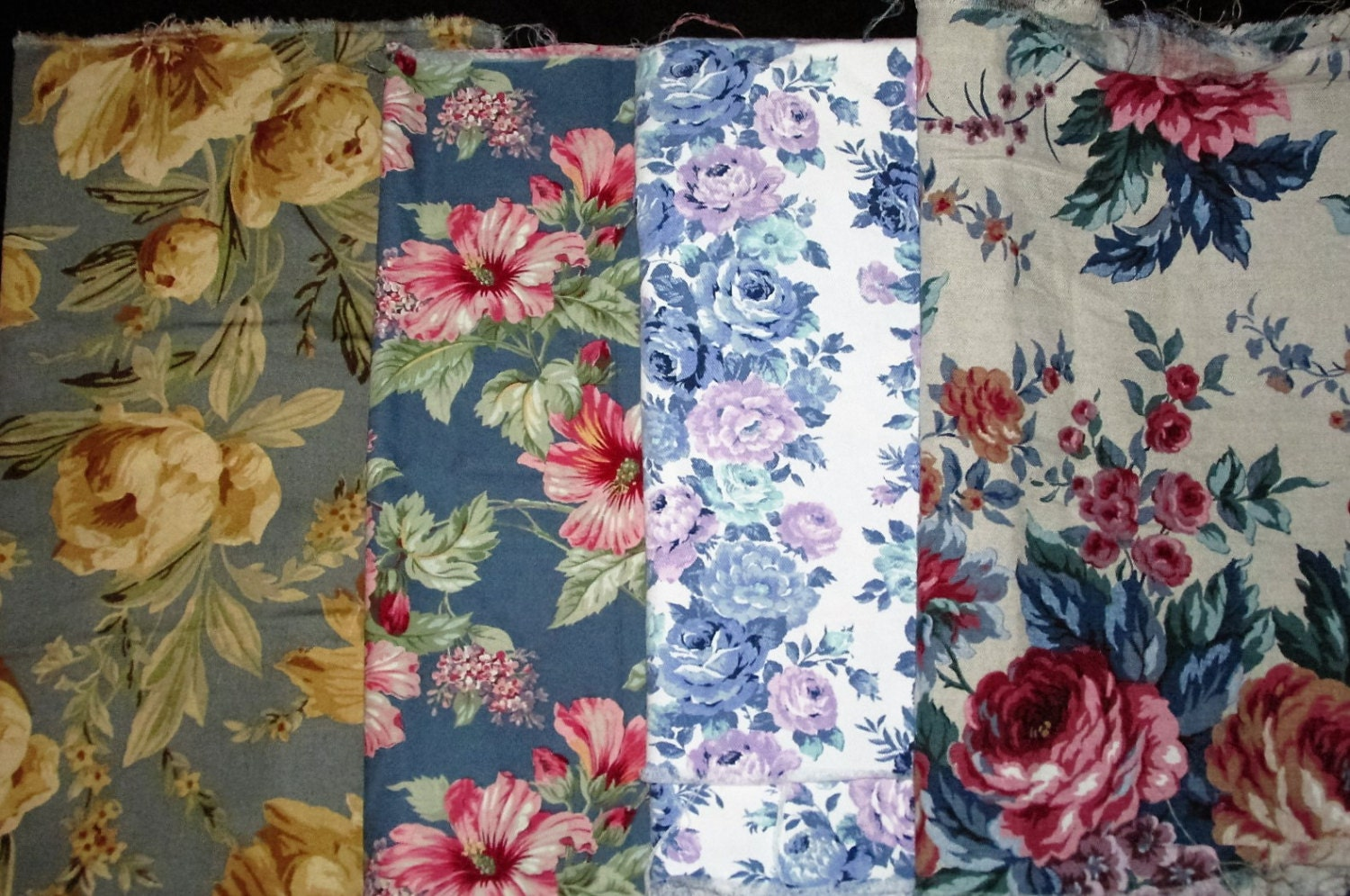 Group of 4 blue floral chintz fabric remnants pieces for bags for Chintz fabric