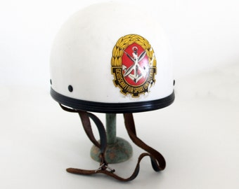 Vintage 1960s German Police Helmet / DDR German Police Motorcycle Helmet