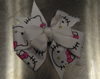 "Custom Made ""Hello Kitty"" hair clip w/ metal clips"