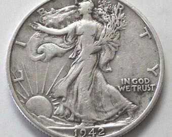 1942s Walking Liberty 90% Silver Half Dollar Coin  - sku 179.1