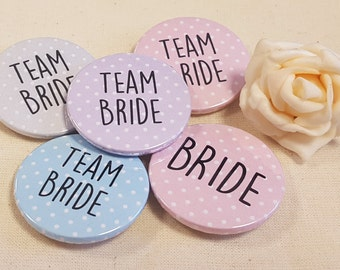 38mm (1.5inch) Size - Quirky Polka Dots Hen Do Badges / Hen Party Badges / Wedding / Team Bride Badge (A Set)