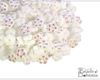 100 pcs Chalk AB Czech Forget-me-not Flower Beads 5 mm (10747)