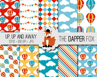 Hot Air Balloon Digital Paper Pack - INSTANT DOWNLOAD - 12x12 - hot air balloon birthday circus papers - red blue orange