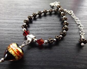 Black, Red and Gold Murano Heart Bracelet