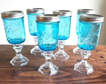 Blue Ball Mason Jar Wine Glass Redneck Wine Glass